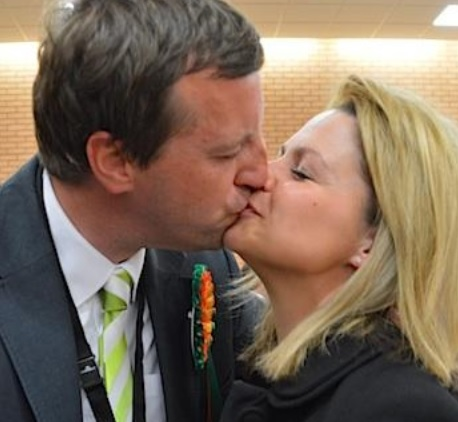 Sealed with a kiss: Jonathan Edwards (Plaid Cymru) celebrates his win