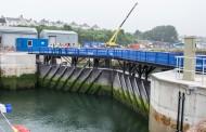Milford Dock lock gates opened