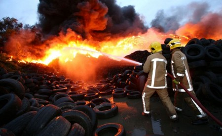 Wolfscastle: Crews tackle 200-tyre fire