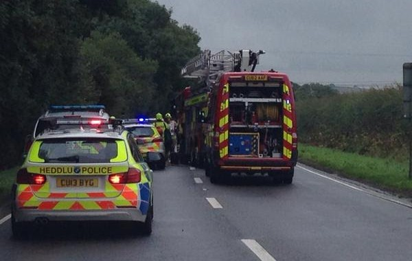 Haverfordwest: Two car collision on busy A40